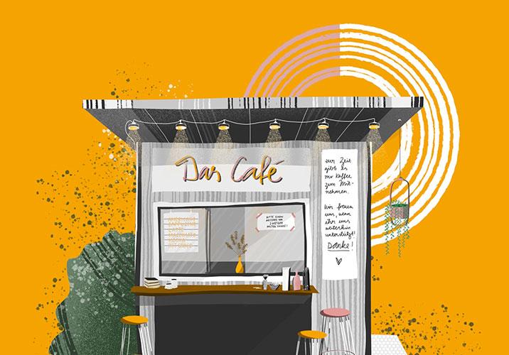 Illustration eines kleinen Cafés mit Stehhockern vor sonnengelbem Hintergrund