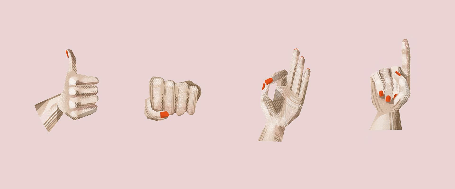 Illustration von vier verschiedene Handzeichen nebeneinander