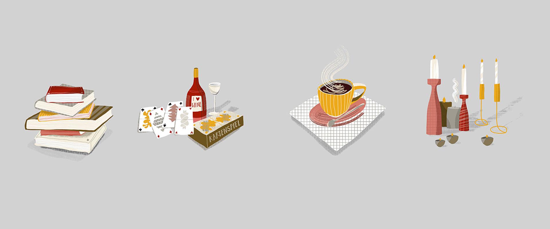 Vier Illustrationen von alltäglichen Gegenständen wie Büchern, Wein und Spielkarten, einer Tasse Kaffee und Kerzen.