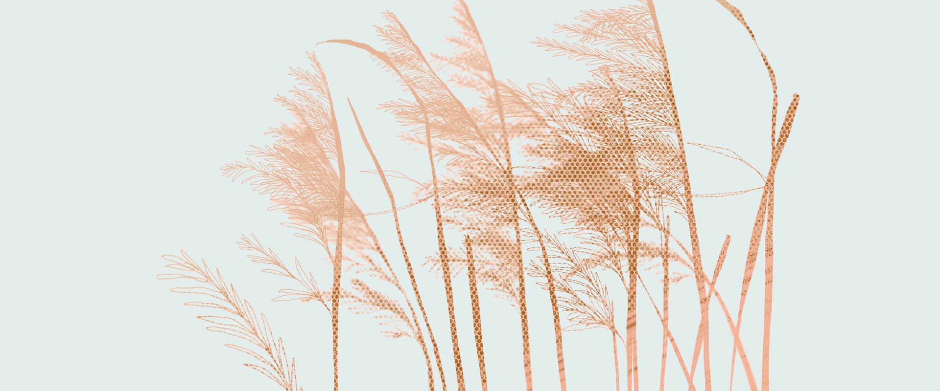 Illustration von Gräsern im Wind vor einem hellblauen Hintergrund.