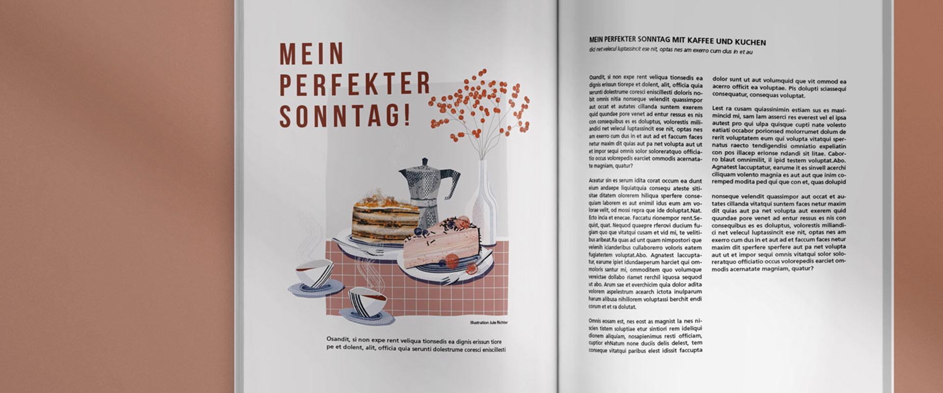 Aufgeschlagene Magazinseite mit linkes einer Illustration und rechts einem Artikel dazu.