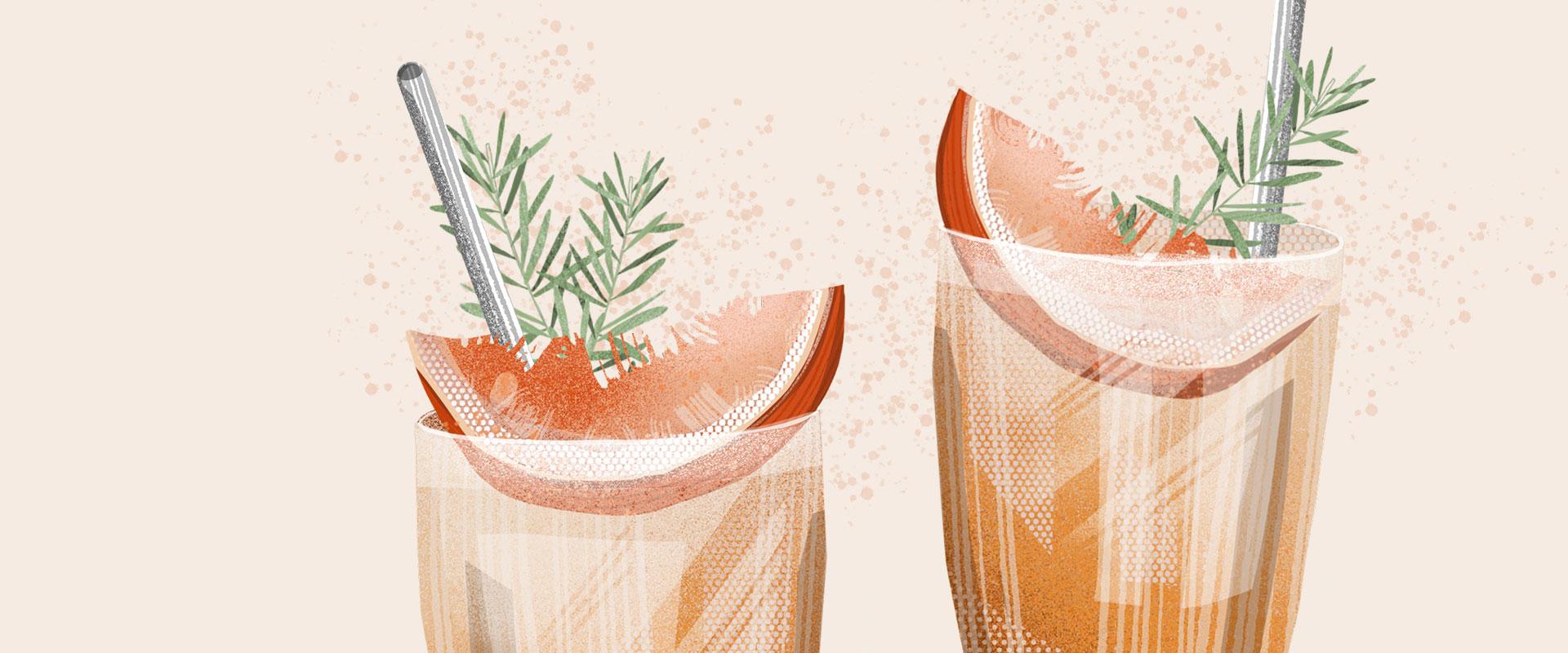 Illustration von zwei Cocktailgläsern mit Grapefriut, Rosmarin und jeweils einem Metallstohhalm drin.