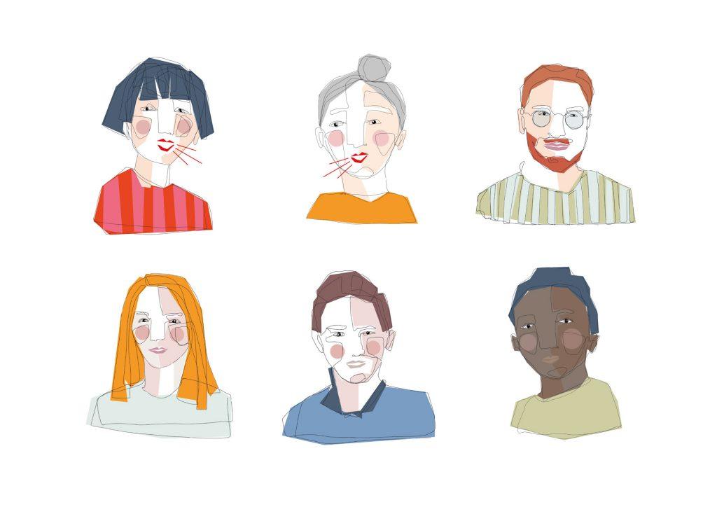 Illustration von sechs verschiedenen Portrait, die sehr farbenfroh sind.