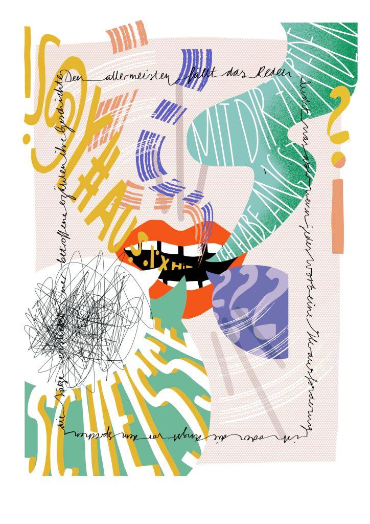 Illustration eines roten offenen Mundes, aus dem viele Sprechblase, wirre Formen und Buchstaben und Laute kommen. Darstellung von Redestörungen.