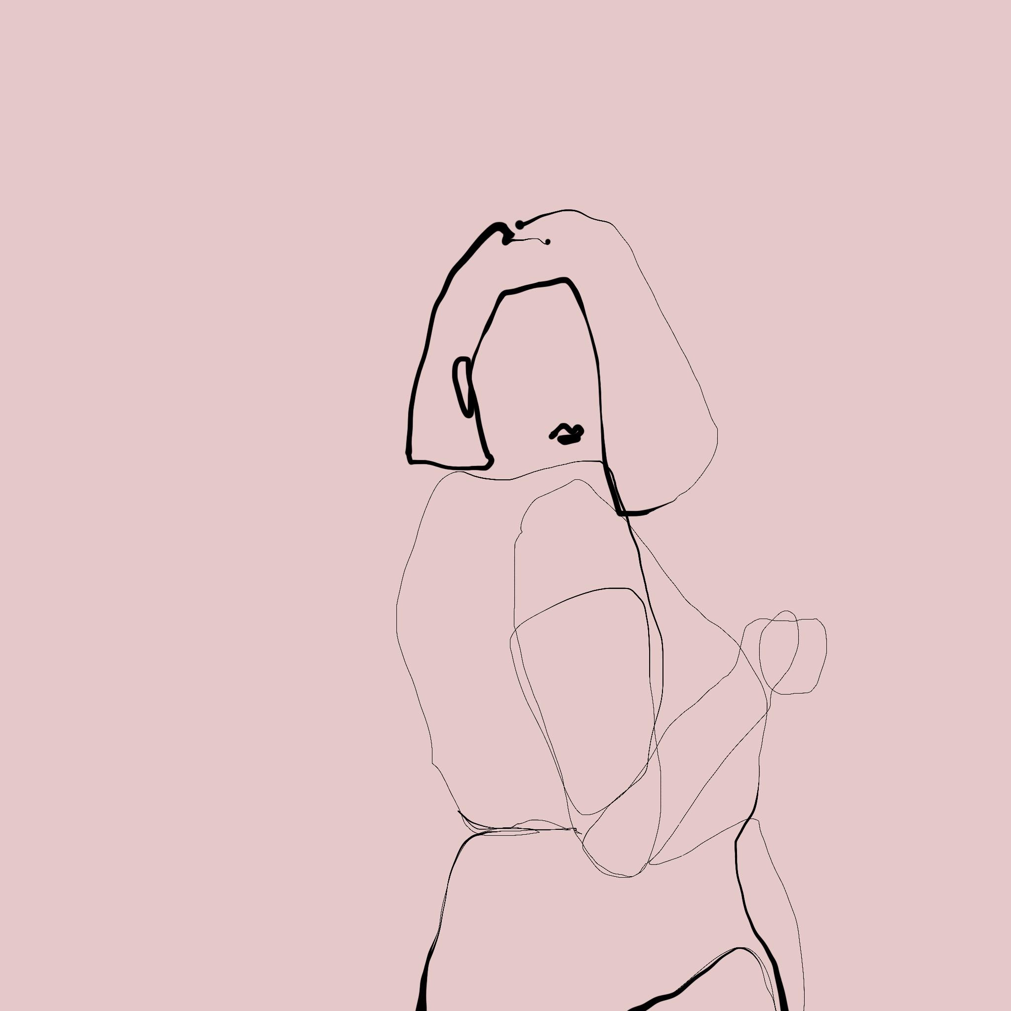 Filigrane one line illustration einer nakten Frau, die mit dem Rücken zum Betrachter steht und über ihre rechte Schulter blickt.