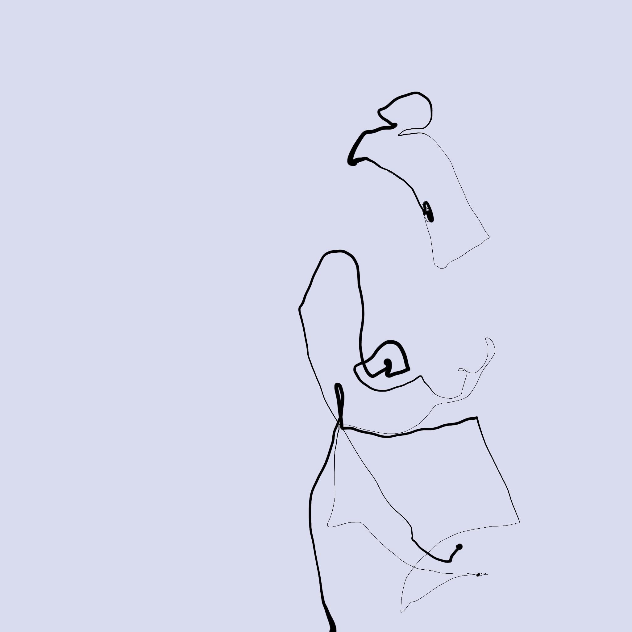one line illustration naked womanFiligrane one line illustration einer nakten Frau, die etwas schräg dasteht und eine Hand im Schoß hat.