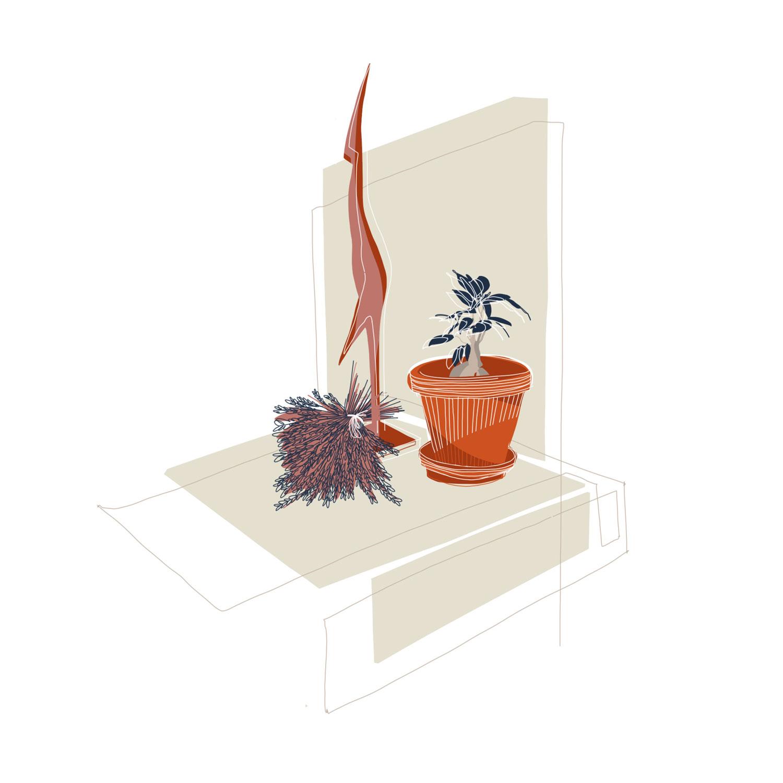 Illustration eines Stilllebens mit einer Pflanze im Tontopf, einem Bund Lavendel und einer filigranen Holzfigur.