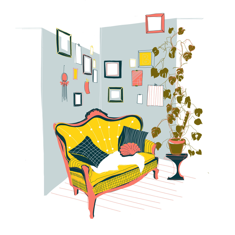 Illustration eines Zimmer mit gelbem Sofa, einer großen Monstera-Pflanze und vielen Bildern an einer hellblauen Wand.