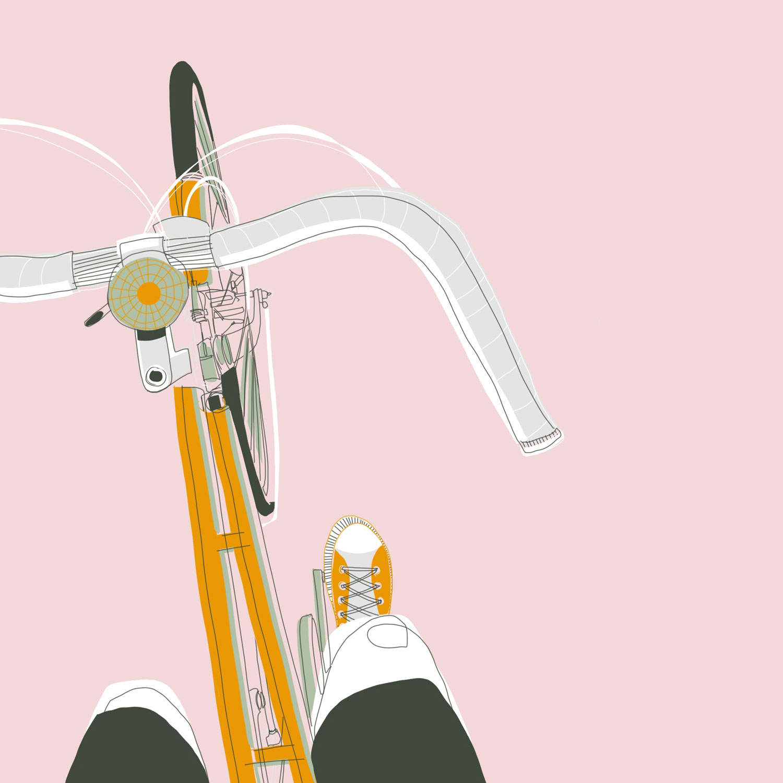 Illustration aus der Vogelperspektive auf dem Rad. Man sieht den Lenker und die Füsse in den Pedalen.