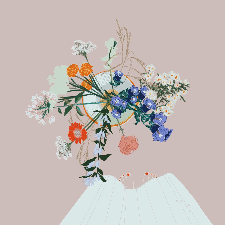 Illustration von Sommerblumen. Von oben betrachtet in einer Vase.
