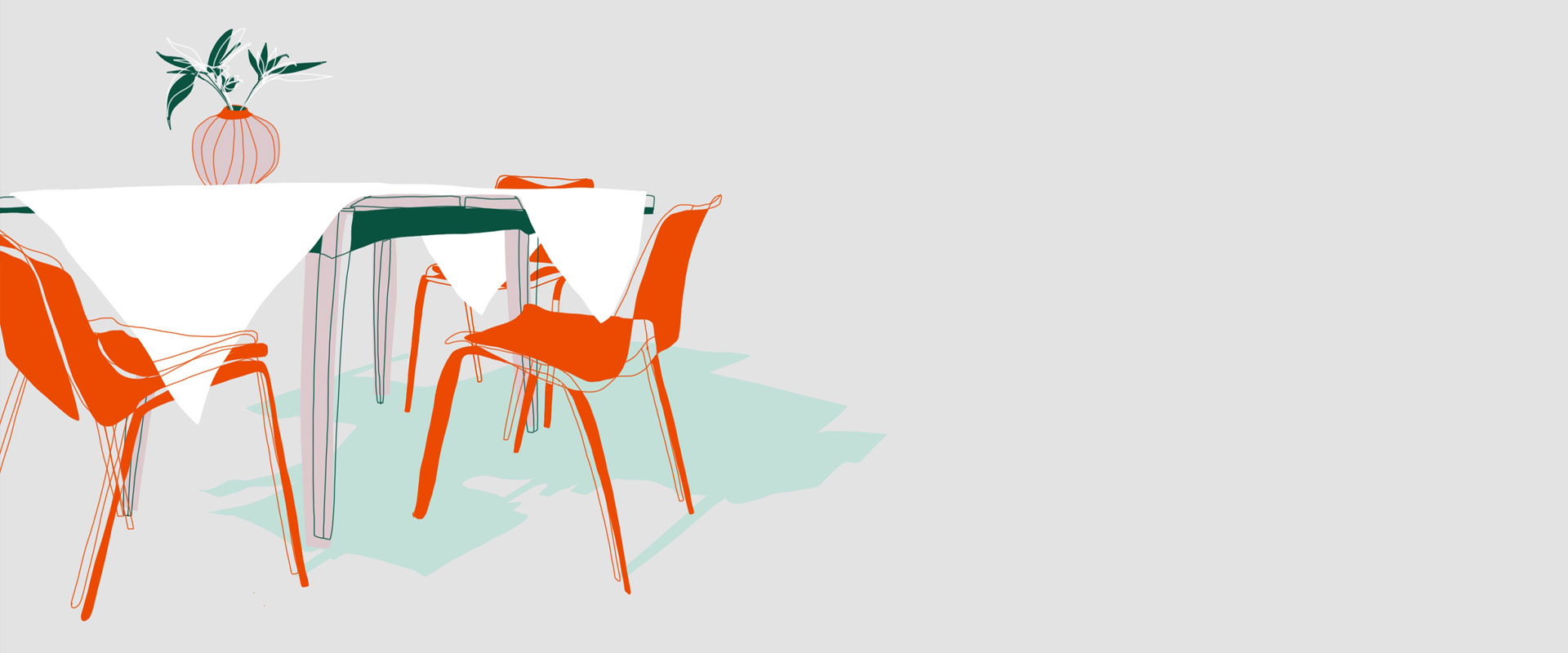 Illustration von einem Tisch im Garten mit orangenen Stühlen und einer Vase.