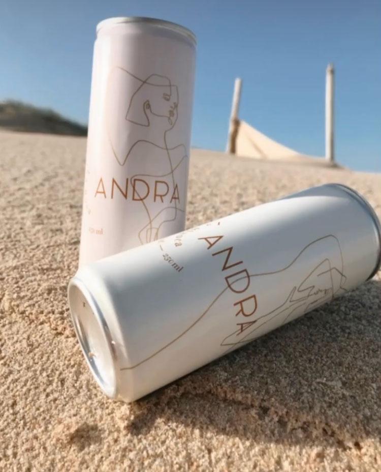 Andra Wine. Zwei Dosen gefüllt mit Rosé und Weißwein, im Sand liegend und von der Sonne angelacht.