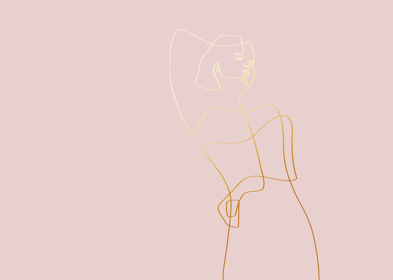 Andra Wine Rosé. Feine Linien, die eine Frau zeichnen.