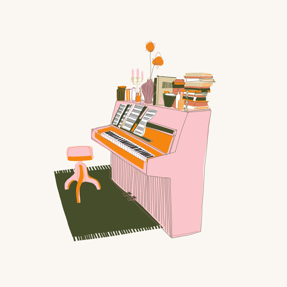 Illustration eines Klavieres mit Kalvierstuhl, grünem Teppich und allerlei Krimskrams auf dem Klavier, wie beispielsweise Bücher, Vasen und andere Gefäße.